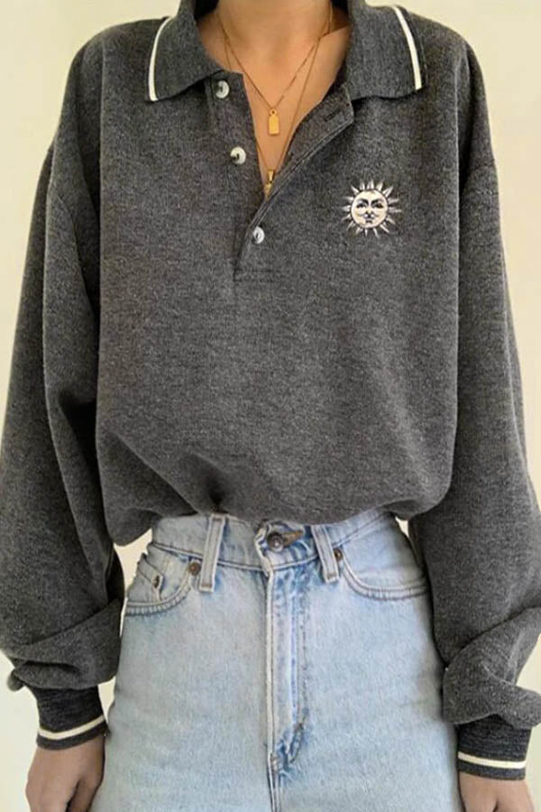 Sports Trendy Sun Print Buttoned Shirt Collar Women Sweatshirt