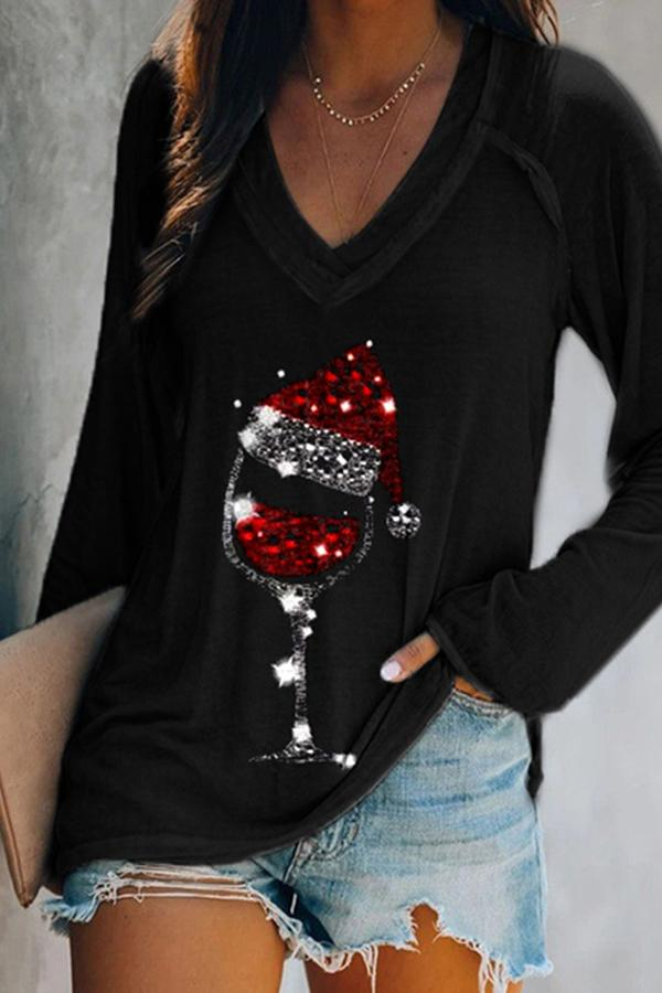 Red Wine Glass With Christmas Hat Print Paneled V-neck T-shirt