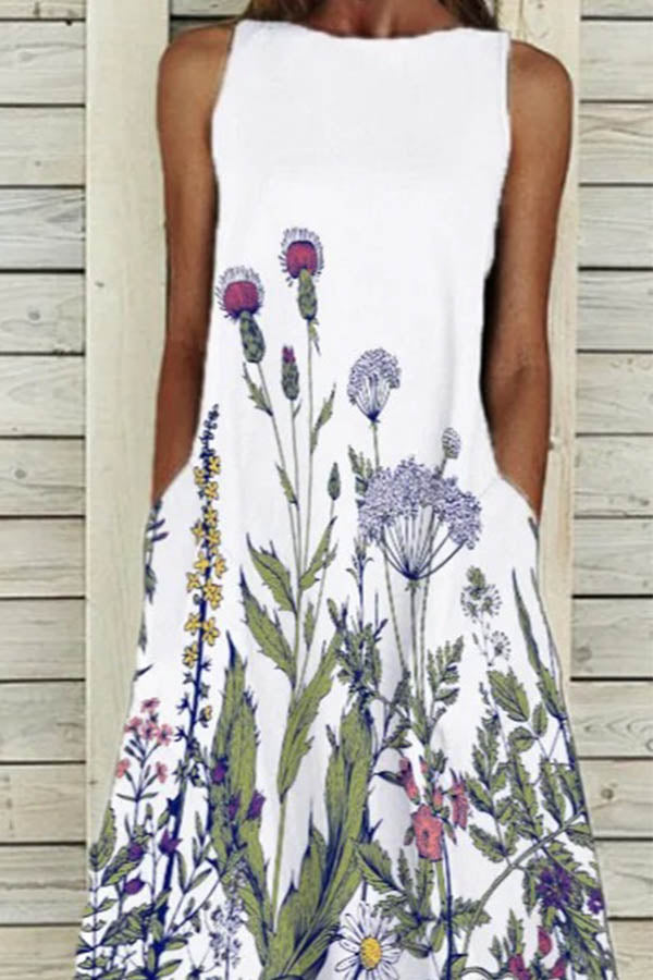 Casual Floral And Dandelion Printed Crew Neck Sleeveless Midi Dress