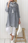 Linen 3/4 Length Sleeves Slit T-shirt Plus Size