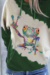Lively Colorful Geometric Frog Gradient Print Drawstring Pocket Front Color Block Hoodie