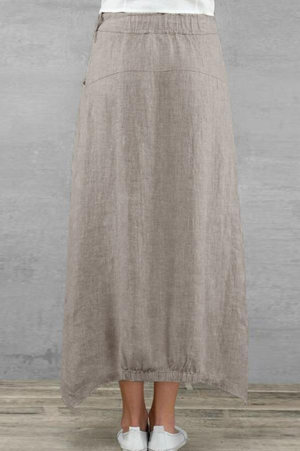 Casual Side Pockets Linen Skirts