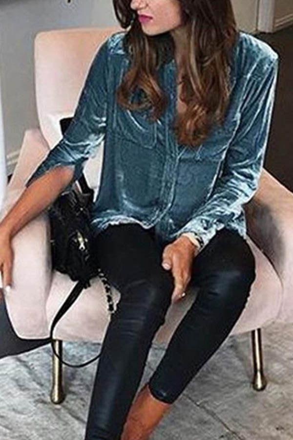 Street Fashion Solid Shimmer Buttons Down V-neck Blouse