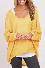 Knitted Long Sleeve Solid Blouse