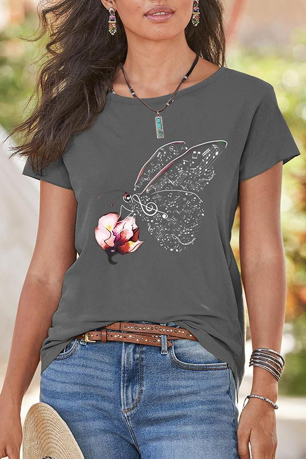Butterfly Floral Print Casual Paneled Short Sleeves T-shirt