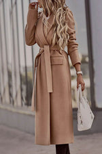 Temperament Solid Lapel Collar Self-tie Side Pockets Long Coat