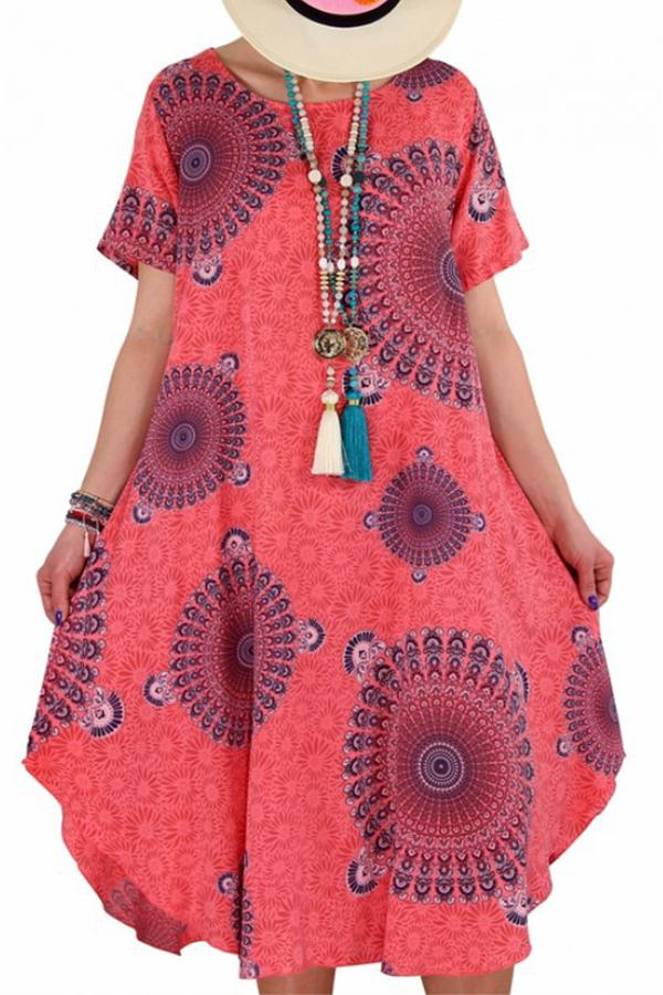 Casual Print Scoop Neck Curved Hem Midi Dress