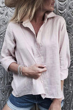 Button Down Notch Collar Long Sleeves Blouse