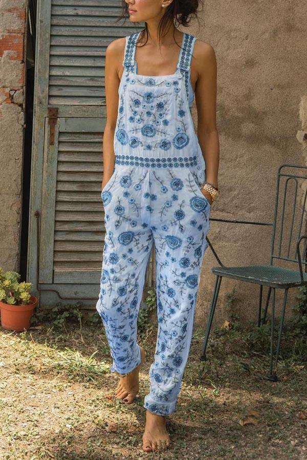 Floral Print Paneled Spaghetti Pockets Casual Jumpsuit