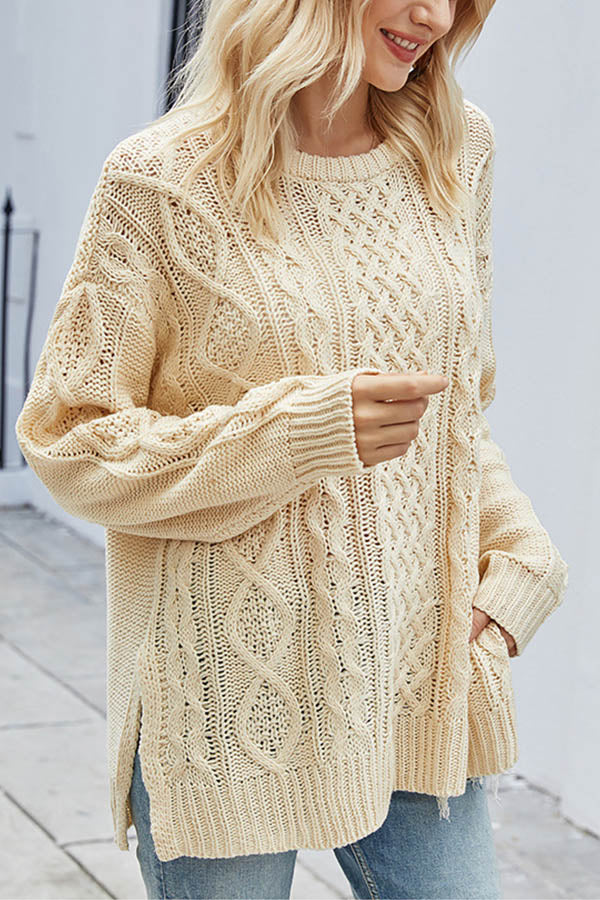 Holiday Solid Knitted Ribbed Spiral Tweed Sweater