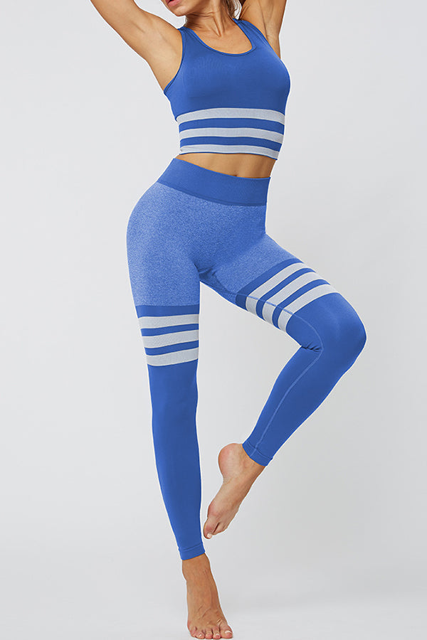 Striped Jacquard Fitness Bra With Leggings Yoga Sports Two-pieces Set