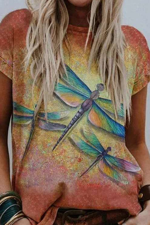 Literary Gradient Dragonfly Print Shift Daily T-shirt