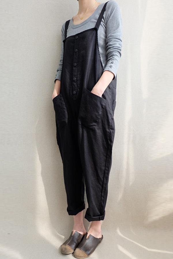 Basic Solid Button Down Linen Pockets Jumpsuits