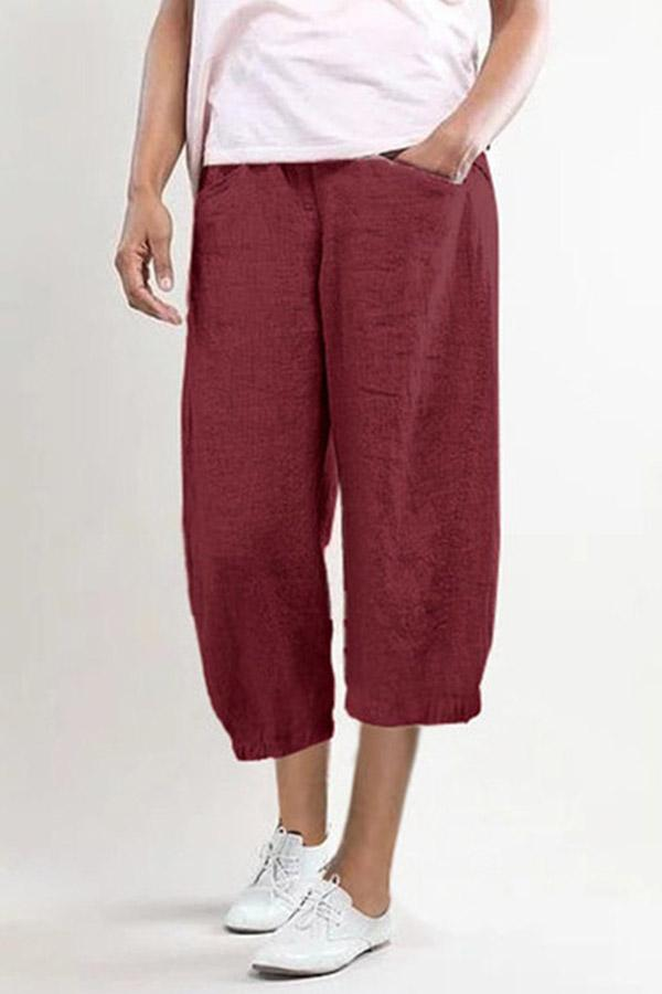 Casual Shift Pockets Wide Leg Solid Pants