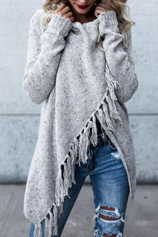 Cross Front Tassel Detail Knitted Sweaters