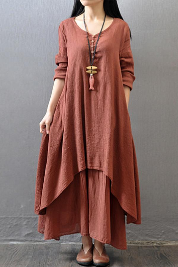Paneled Solid Buttoned Irregular Hem Maxi Dress