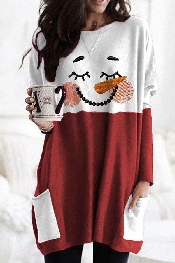 Closing Eyes Snowman With Smile Face Print Color-block Christmas T-shirt