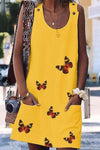 Casual Butterfly Print Buttoned Pockets Sleeveless Midi Dress