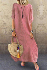 Striped Crew Neck Casual Half Sleeve Maxi Dress