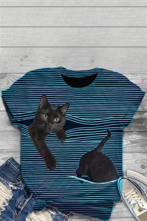 Lively Black Cat With Striped Print Shift T-shirt