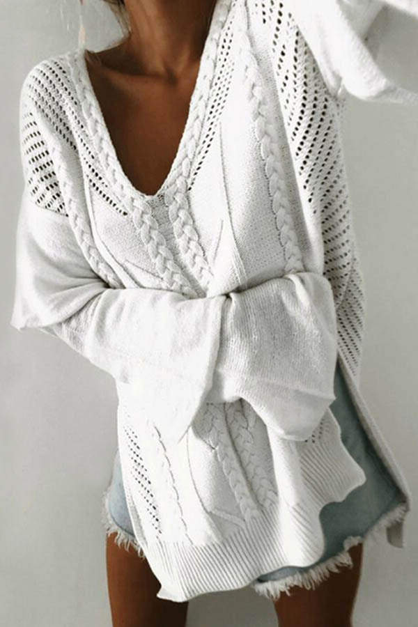 Elegant Solid Knitted Tweed Ribbed Hollow Out V-neck Sweater