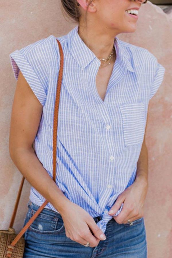 Short Sleeves Strpe Button Up Casual Shirt
