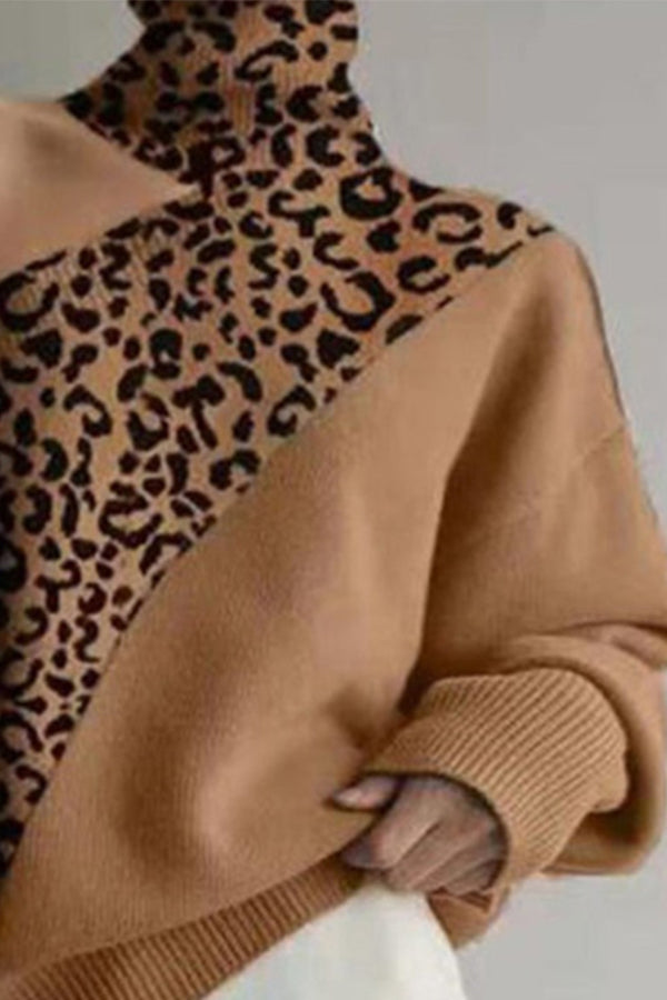 Elegant Leopard Jacquard Leaky Shoulder Asymmetric Turtleneck Color Block Knitted Ribbed Sweater