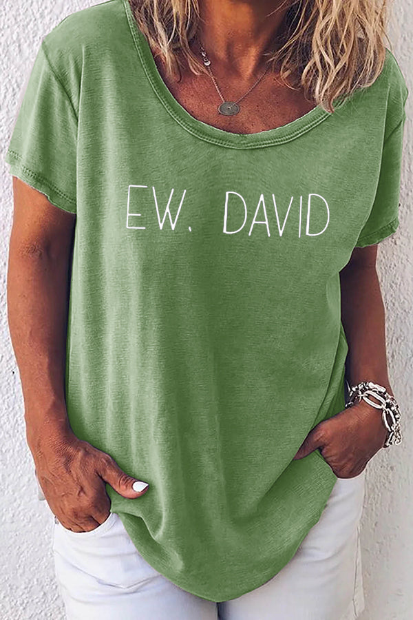 Ew David Letter Print Crew Neck Classic Shift T-shirt