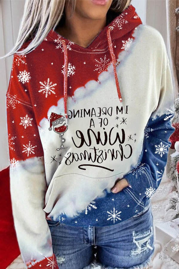 Im Dreaming Of A Wine Christmas Hat Snowflake Letter Jacquard Color-block Hoodie