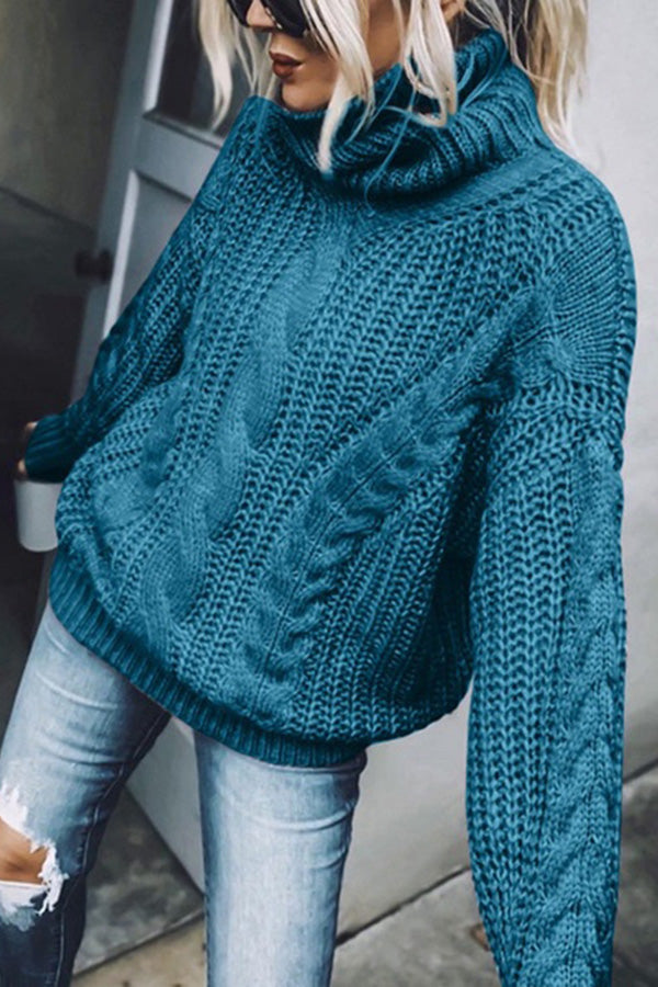 Knitted Solid Ribbed Tweed Turtleneck Classic Sweater