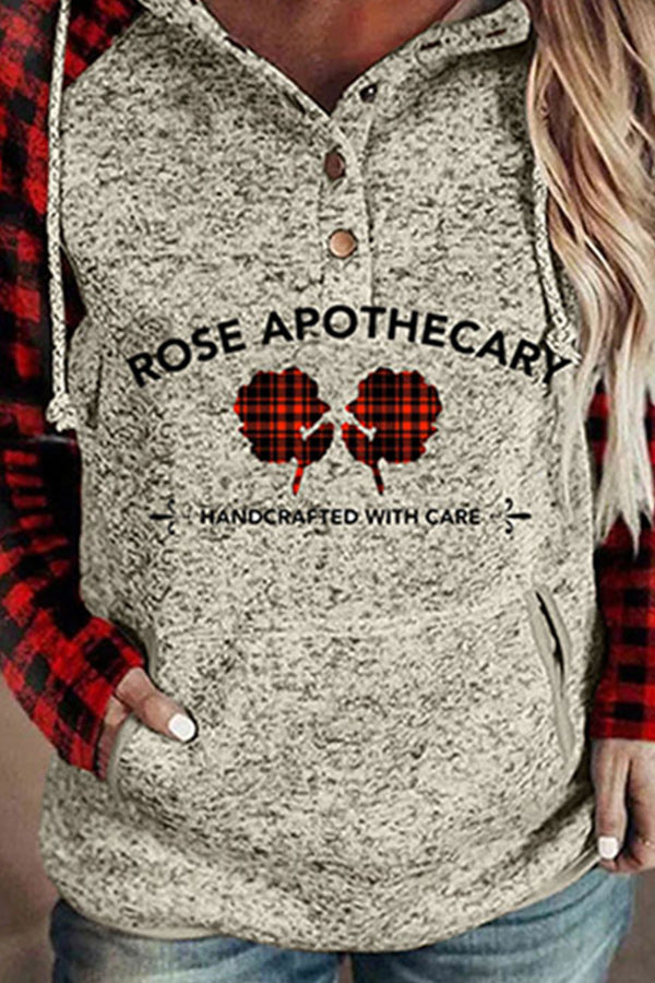 Rose Apothecary Handcrafted With Care Letter Floral Plaid Print Raglan Sleeves Drawstring Pocket Hoodie