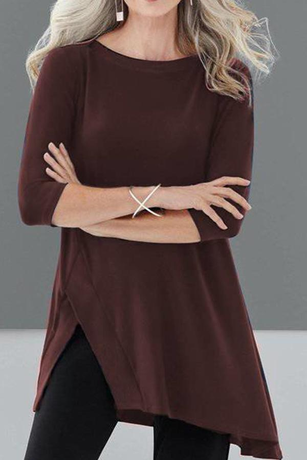 Round Neck Irregular Long Sleeves T-shirt
