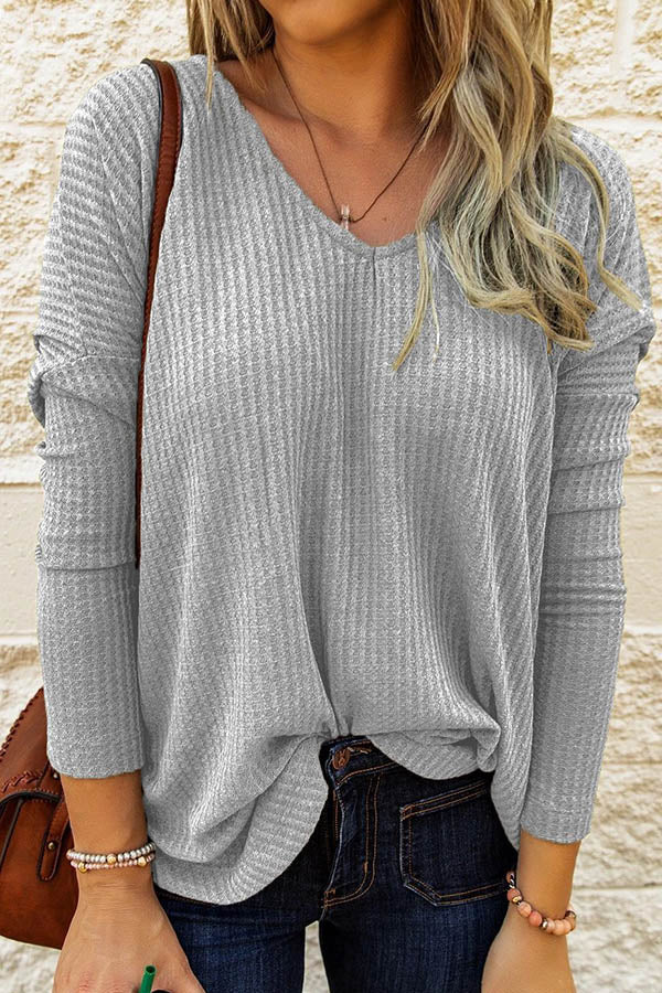 Woman Waffle Embossed V-neck Paneled Long Sleeves Classic Blouse