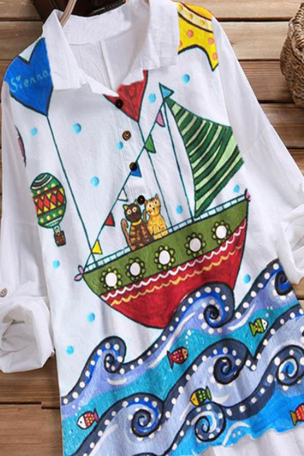 Cartoon Graphic Print Paneled Buttoned High Low Casual Blouse