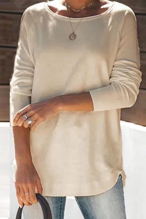 Solid Crew Neck Long Sleeves Casual Blouse