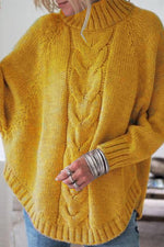 Solid Roll Neck Dolman Sleeve Thread Sweater