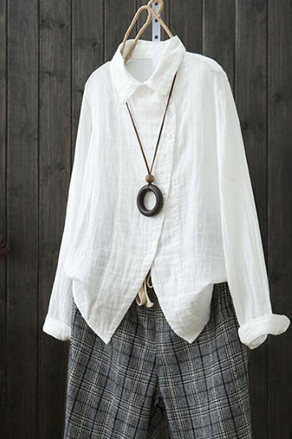 Linen Irregular Casual Solid Shirt Collar Blouses