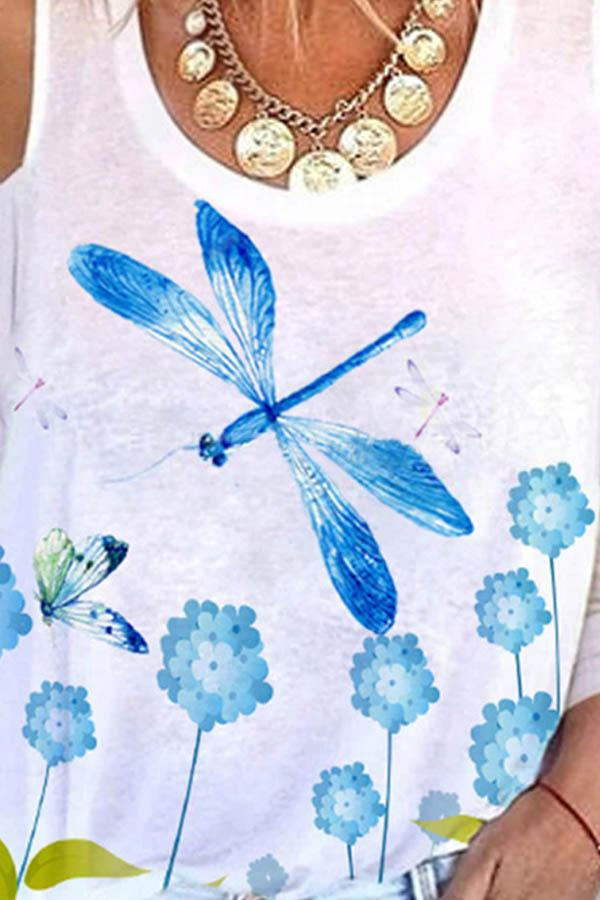 3/4 Sleeves Dragonfly Floral Print Casual Cold Shoulder T-shirt
