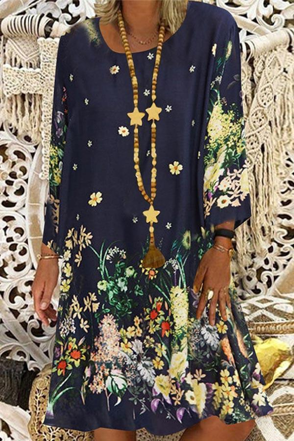 Floral Print Vintage Long Sleeve Midi Dress