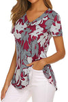 Casual Floral Print Paneled Bottoned V-neck Blouse