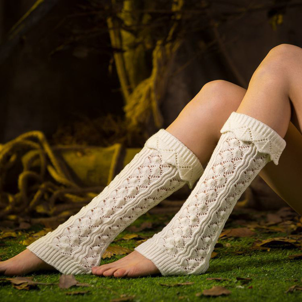 Holiday Hollow Out Knitted Ribbed Tweed Long Sock Cover
