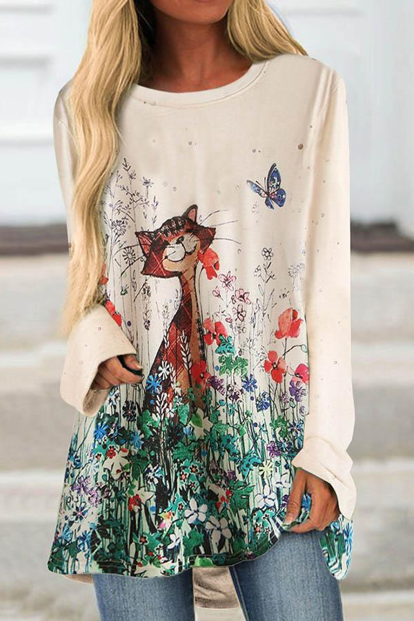 Cartoon Cat Butterfly Floral Print Paneled Long Sleeves Casual T-shirt