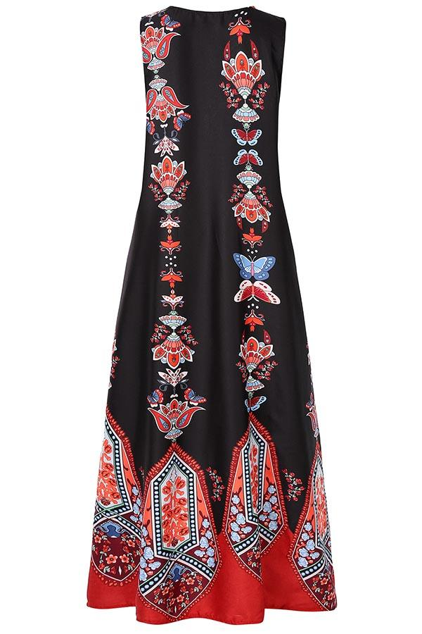 Vintage Print V-neck Sleeveless Maxi Dress