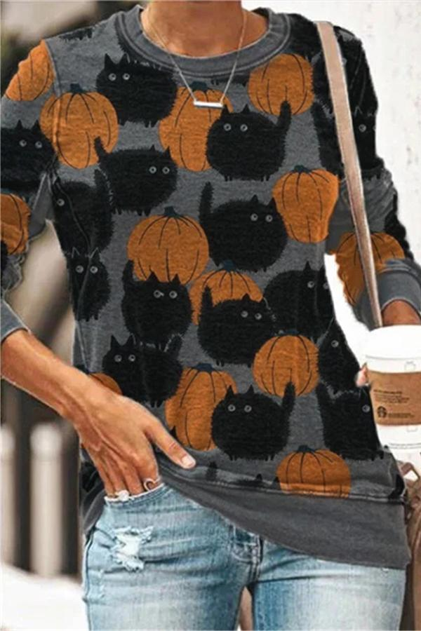 Cartoon Black Fat Cat Pumpkin Print Halloween Sweatshirt