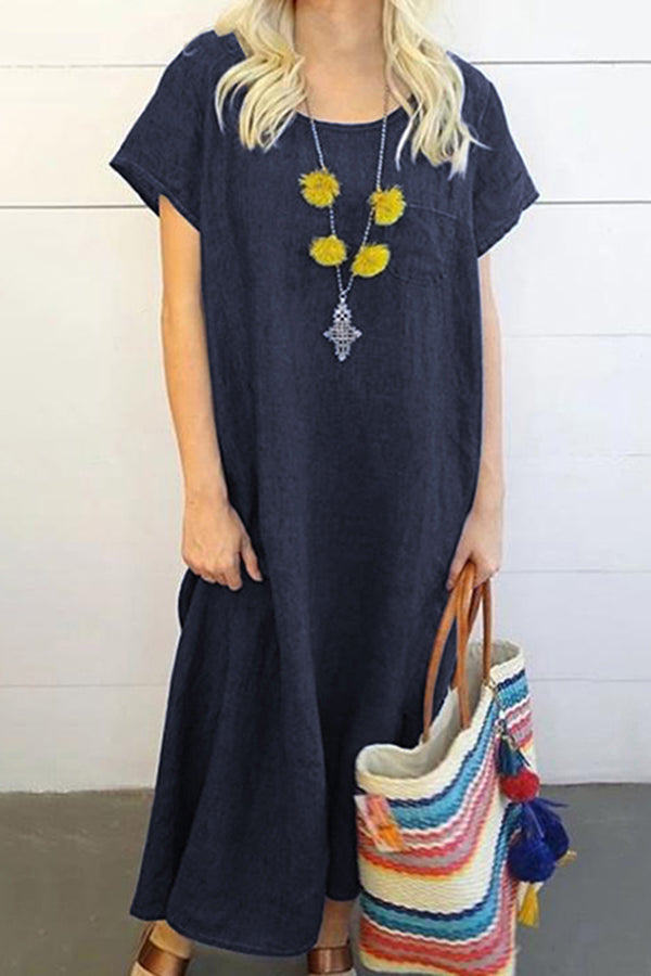 Casual Round Neck Solid Short Sleeves Maxi Dress