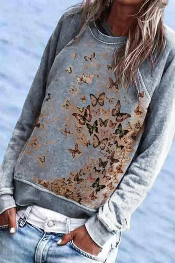 Multi-colored Butterfly Print Casual Crew Neck Sweatshirt