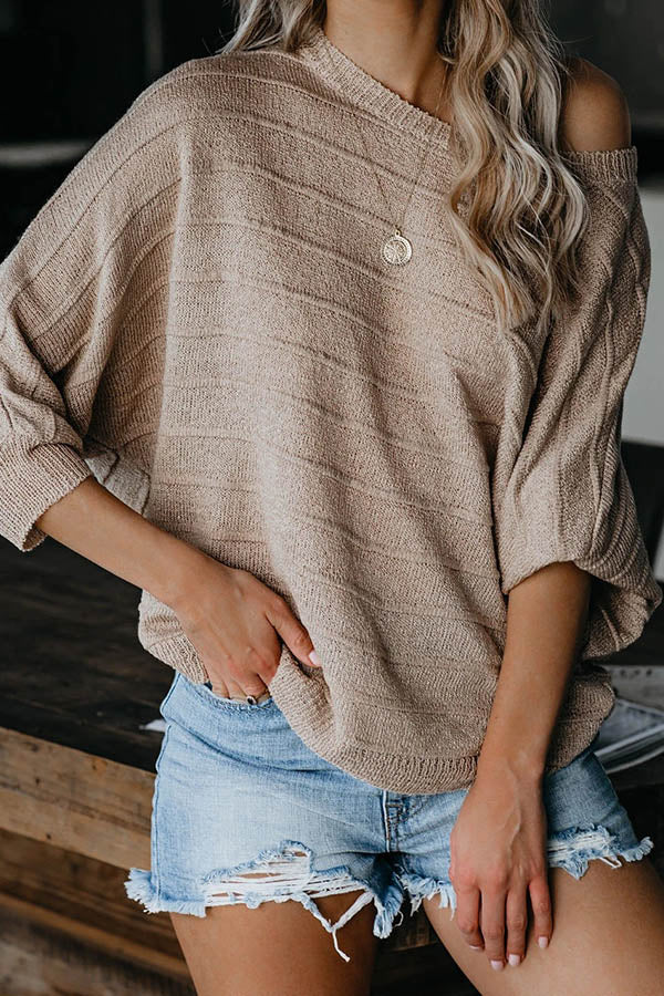 Casual Knitted Striped Embossed Ribbed Sweater