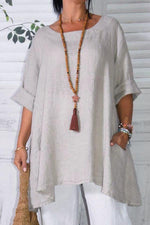 Round Neck Pocket Irregular Linen Solid Blouse