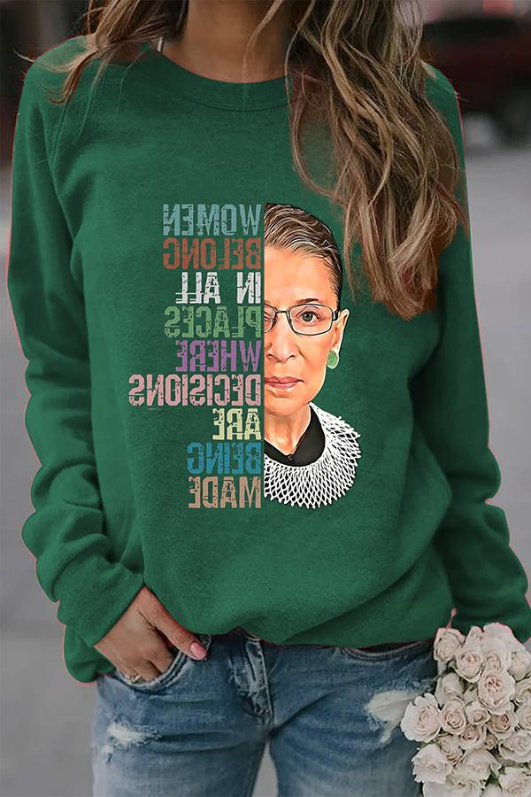 Rainbow Color Letter Ruth Bader Ginsberg Portrait Oil Painting Print Casual T-shirt