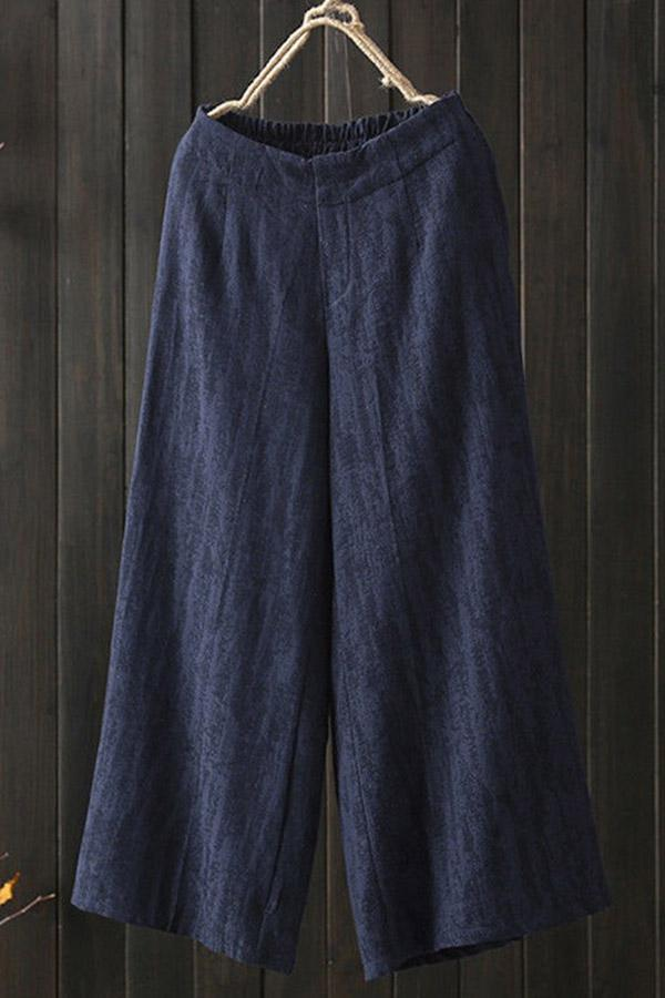 Casual Loose Linen Solid Pants